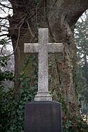 Grabkreuz vor Baumstamm