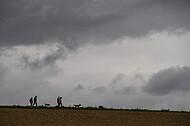 Spaziergang vor grauem Himmel