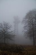 Sendemast im Nebel