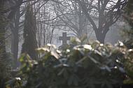 Steinkreuz im Nebel